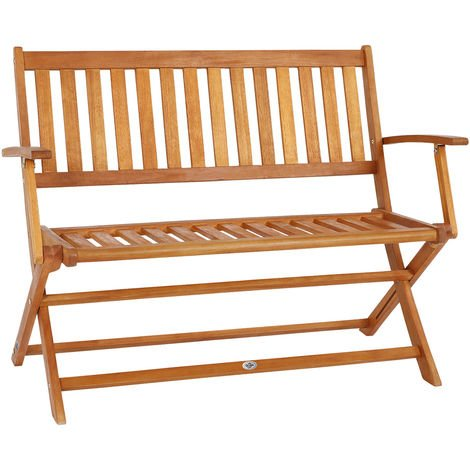 Deuba Garden Bench Folding Wooden FSC Certified Eucalyptus Wood 2 Seater Park Patio