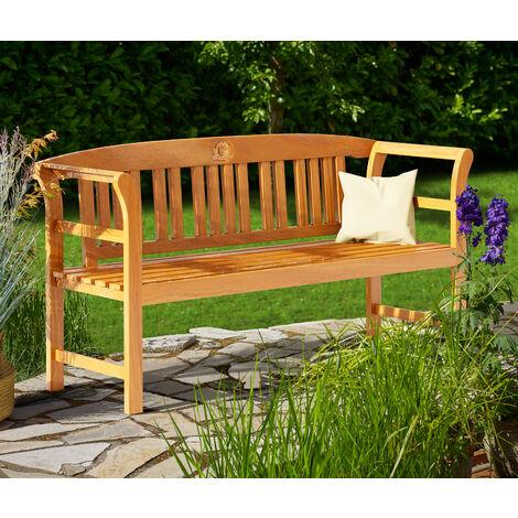 Deuba Garden Bench Rose FSC®-Certified Eucalyptus Wood 2 Seater Wooden Garden Furniture Armrests