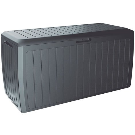 Deuba Garden Box 290L Storage Plastic Outdoor Patio Deck Chest 114x47x60cm Rattan Style with Lid and Wheels