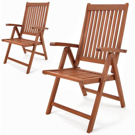 Deuba Garden Chair Vanamo FSC®-certified Eucalyptus Wood Foldable Chair High-back Garden Furniture 2Pcs Set