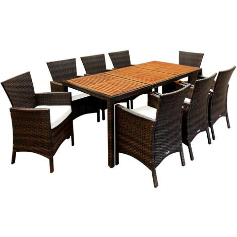 Deuba Garden Furniture Dining Table and Chairs Set 8 Seater Wooden Top Outdoor Patio Acacia Wood