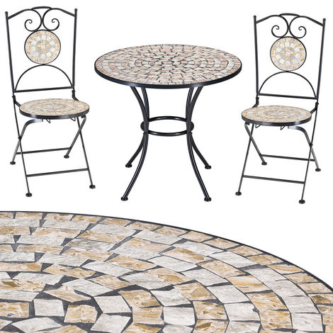 Deuba Garden Furniture Mosaic Balcony 2 Seater Table and Chairs Set Patio Terrace Dining Bistro Cafe Outdoor