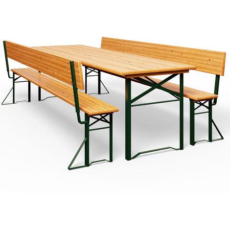 Deuba Garden Furniture Table Bench Set Wooden Trestle Foldable Beer Bench Set with Backrest 170 x 70 cm