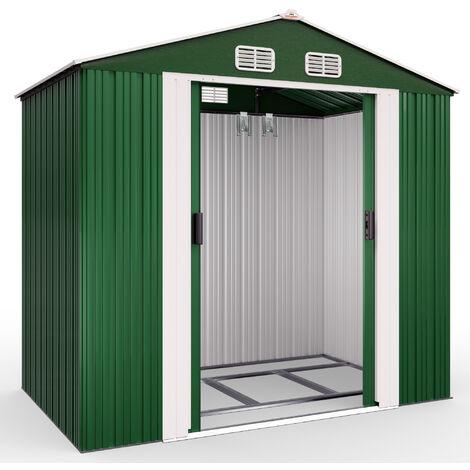 Deuba Garden Metal Tool Shed Galvanised Green Roofed Outdoor Storage Container 7x4ft