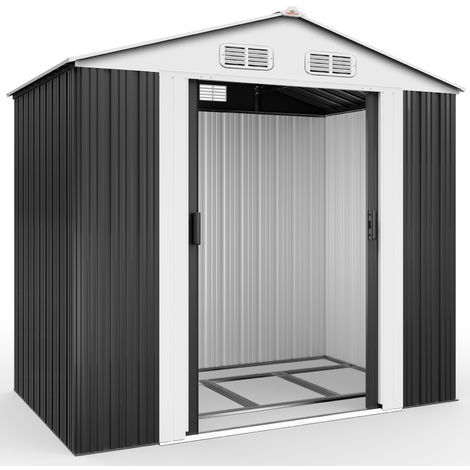 Deuba Garden Metal Tool Shed Size and Colour Choice Galvanised Green Anthracite Brown Roofed Outdoor Storage 7x4ft, Grey