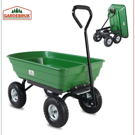 Deuba Garden Tipping Cart Dump Truck Wheelbarrow Trolley 300kg Tipper Truck Trailer Green