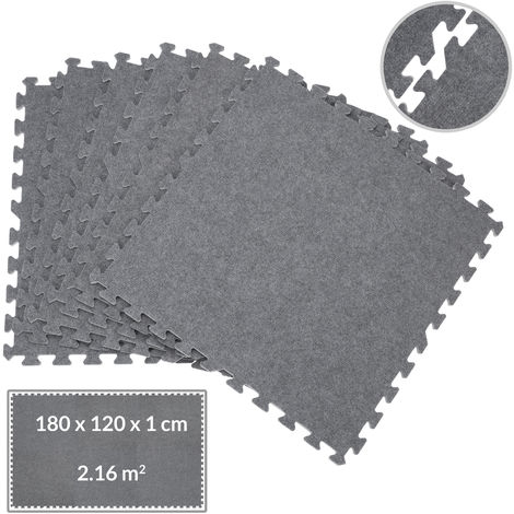 Deuba Interlocking Floor Mats EVA 60x60cm Rug Carpet Protective Flooring Mat 7.10ft² Grey