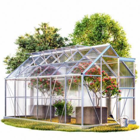 Deuba Invernadero de aluminio 11,73m³ con base 380x190cm Huerto Plantas Verduras Jardín Jardinería