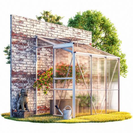 Deuba Invernadero de aluminio 3,65m³ 192x127cm lateral de pared medio con base Huerto Plantas Flores