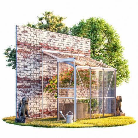 Deuba Invernadero de aluminio 3,65m³ 192x127cm lateral de pared medio Huerto Plantas Flores Verduras