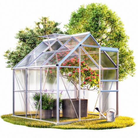 Deuba Invernadero de aluminio de 5,85m³ con base 190x195cm Cobertizo Vivero Cultivo Plantas Verduras Flores Jardín Jardinería