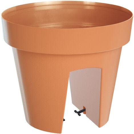 Deuba Jardinera de balcón para barandilla 5L/12L Maceta de Plástico con 2 cámaras separadas Varios colore Terracota - 5L