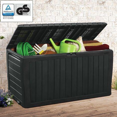 Deuba Keter Marvel Plus Baúl Antracita de almacenaje 270L almacemamiento accesorios de jardín arcón cofre banco interior