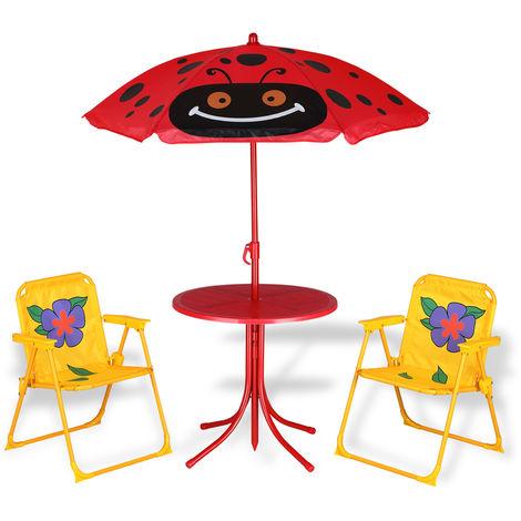 Deuba Kindersitzgruppe Sonnenschirm Tisch 2 Stühle