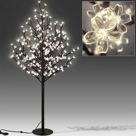 Deuba Kirschblütenbaum 200 LED 180cm Lichterbaum Indoor Outdoor Metallfuß Stabil Weihnachten Beleuchtung Warmweiß