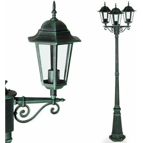 Deuba Lámpara de pie con 3 faroles de aluminio Verde o Antracita luz de exterior decoración de jardín terraza camino 226 cm