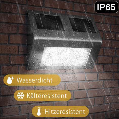 Deuba Lámpara Solar LED Impermeable para pared Exterior de Acero Inoxidable iluminación de Caminos sin cables