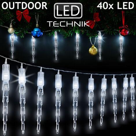 DEUBA® LED Lichterkette Eiszapfen Eisregen Innen Außen Weihnachtsbeleuchtung