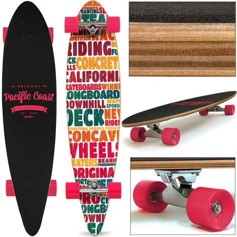 Deuba Longboard 112x26cm ABEC 7 44 Inch Pink Wheels Skateboard Pintail Complete Premium Pro Cruiser Deck