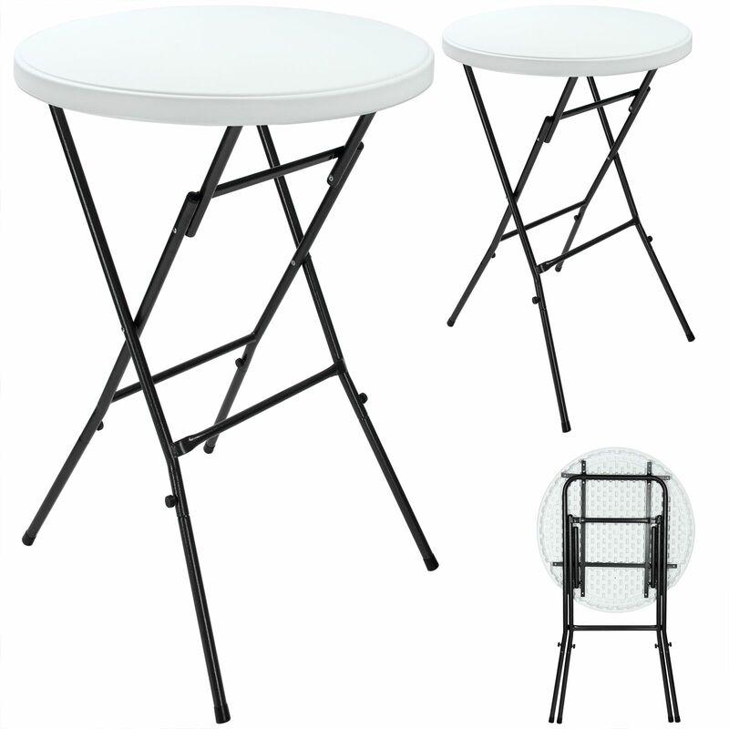 Deuba   Lot de 2 tables hautes • pliable • plateau en plastique blanc • Ø 72 cm   Table haute, table de bar, mange-debout