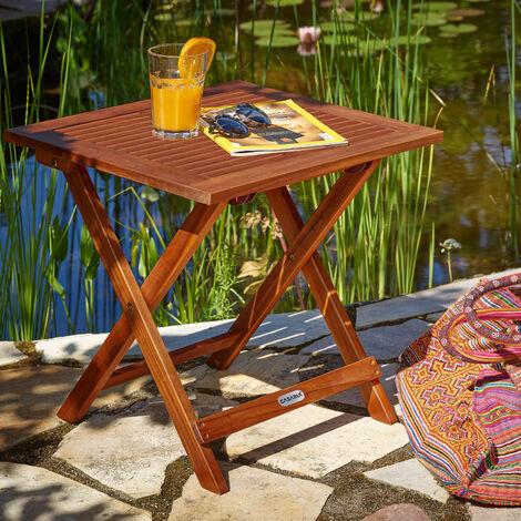 """main image of """"Deuba Mesa auxiliar de jardín 70x70cm Mesita plegable de madera de acacia para balcón terraza"""""""