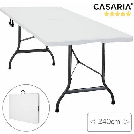 Deuba® Mesa comedor   Plegable   Mesa de camping   Ideal para jardín o camping   240 cm   Extra larga   240x70x74cm   Color blanco   Plegable   Fácil de transportar   Mesa camping  