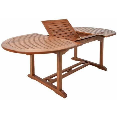 """Deuba Mesa de madera de eucalipto """"VANAMO"""" mesa extensible y plegable con soporte para sombrillas terraza jardín"""