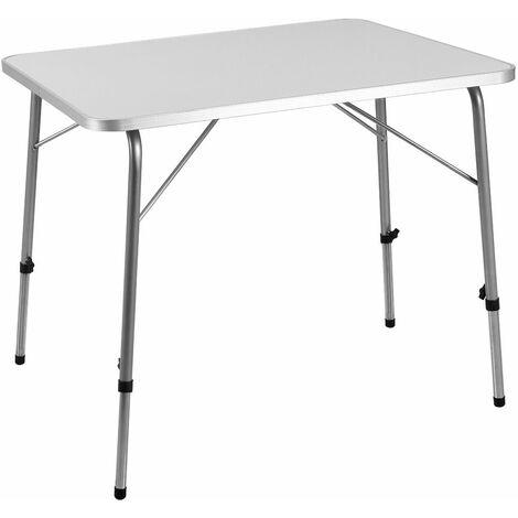 Deuba Mesa plegable de aluminio para camping jardín color Blanco y Plata altura ajustable exterior 80 x 60 cm