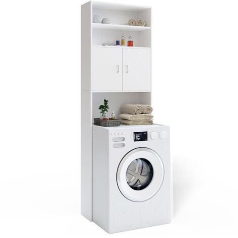"""main image of """"Deuba Mueble alto para lavadora Blanco armario alto estante de baño almacenamiento Mueble con 3 estantes 195 x 63 x 20cm"""""""