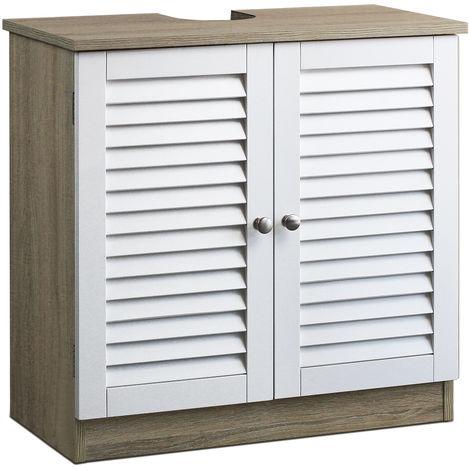 DEUBA Mueble bajo lavabo armario con dos puertas apto para todos los lavabos con hueco para el sifón baño