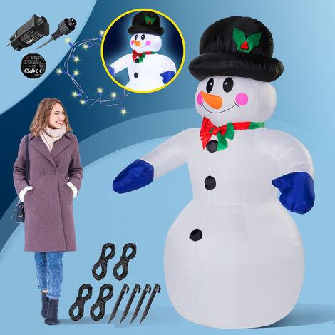 Deuba Muñeco de nieve inflable XXL 240cm decoración exterior de navidad luces LED muñeco hinchable iluminación poliéster