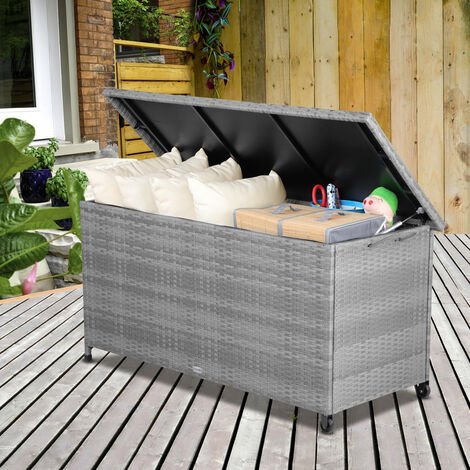 Deuba Pad Box 122x56x61cm Poly Rattan Waterproof Rollable 2 Gas Pressure Springs Cushions Garden Box Chest Grey