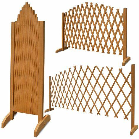 Deuba Panel de Cerca de jardín enrejado de Madera soporte para plantas de color Marrón Panel de valla para jardín Marrón - Marrón