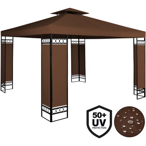 Deuba® Pavillon 3x3m   wasserabweisend   UV-Schutz 50+   9m² Festzelt Gartenpavillon   braun