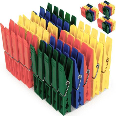 Deuba Pinzas de ropa de Plástico alambre de acero galvanizado inoxidable para tendedero resistentes multicolor 200 pieces (en)