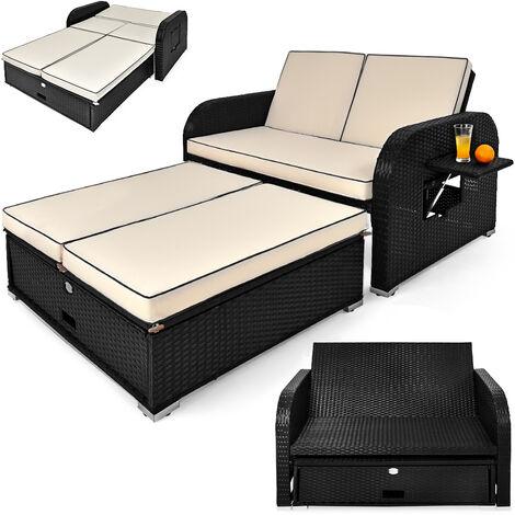 Deuba Poly Rattan 2 Seater Sofa Bench Outdoor Garden Patio Sun Lounger Recliner Black Cream Wicker (167 x 107 x 55 cm)