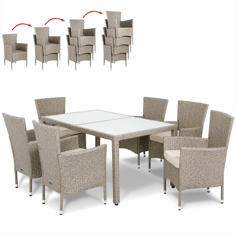 Poly Rattan 6+1 Sitzgruppe Sitzgarnitur Grau Beige stapelbare Stühle 7cm Auflagen wetterfestes Polyrattan Gartenmöbel Essgruppe Set - Casaria