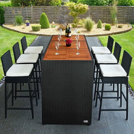 Deuba Poly Rattan Bar Set Waterproof Garden Patio Furniture Aluminium Outdoor Dining Table and Chair Stools Conservatory Acacia Wood Table Incl Cushions