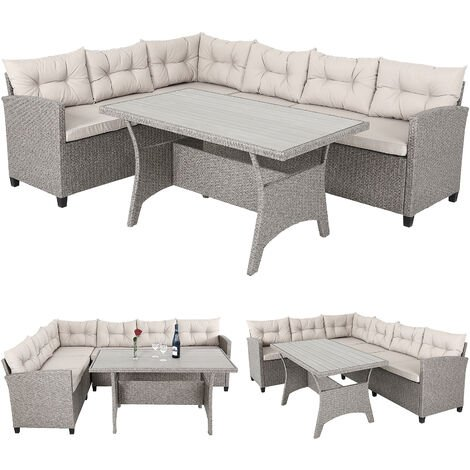 Deuba Poly Rattan Corner Sofa Set Conservatory Patio Outdoor Garden Furniture Lounge with WPC Table (Cream)