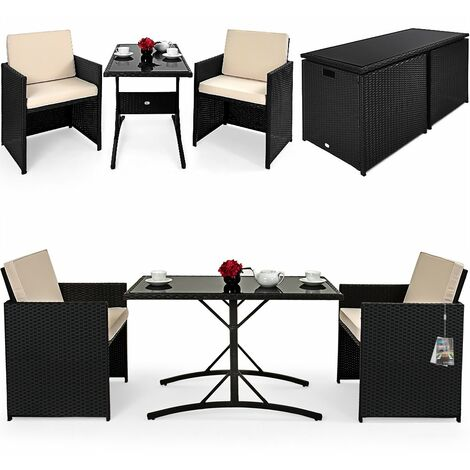 DEUBA Poly Rattan Cube Set Size Choice Black Wicker Garden Furniture Outdoor Patio Conservatory Dining Table Chairs Stool (2 + 1)