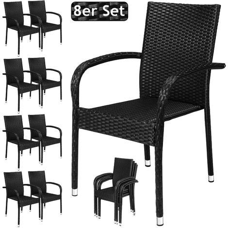 Deuba Poly Rattan Garden Chair Stackable High-Backed Chair