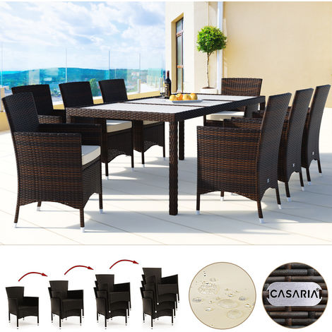 Deuba Poly Rattan Garden Dining Table and Chairs Set Outdoor Patio Conservatory Furniture 8 Seater Beige Black Brown (Brown)