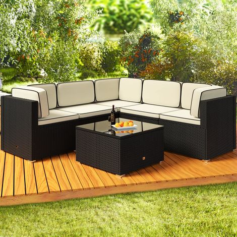 Deuba Poly Rattan Garden Furniture Corner Sofa Set Black 20 Pieces Patio Conservatory Outdoor Wicker Lounge Settee