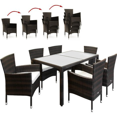 """main image of """"Deuba Poly Rattan Garden Furniture Dining Deuba Poly Rattan Garden Furniture Dining Table and Chairs Set Outdoor Patio Conservatory Wicker 6 Seater Rectangular"""""""