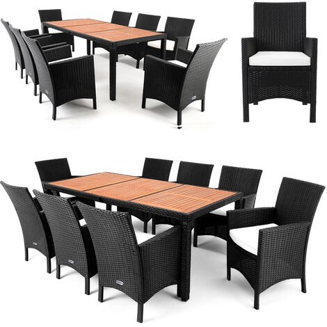 Deuba Poly Rattan Garden Furniture Dining Table and Chairs Set Outdoor Patio 8 Seater