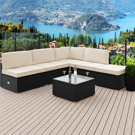 Deuba Poly Rattan Garden Furniture Outdoor Patio Sofa Set 7cm Cushions Black Outdoor Patio (Black)