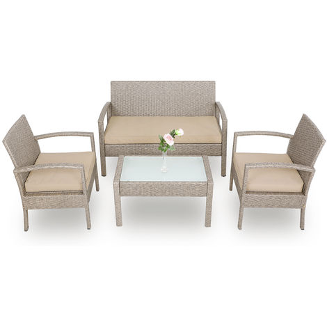 Deuba Poly Rattan Garden Furniture Set Outdoor Patio Balcony Set Colour Choice (Cream)