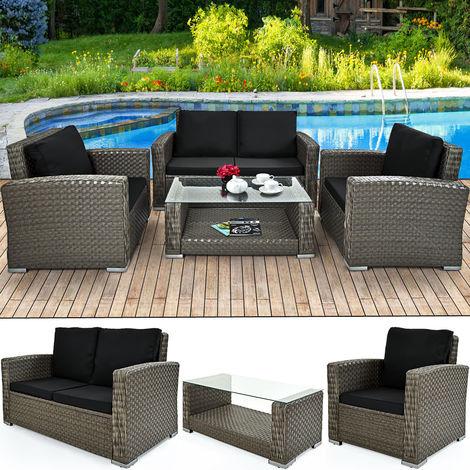 Deuba Poly Rattan Garden Furniture Set Outdoor Patio Balcony Set Colour Choice (Grey XL)