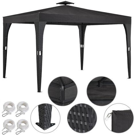 Deuba Poly Rattan Garden Gazebo 3x4m Outdoor Patio Pavilion Party Tent Canopy Marquee