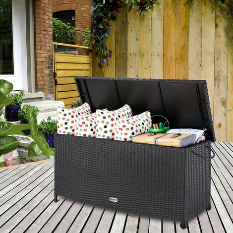 Deuba Poly Rattan Garden Storage Box Outdoor Chest Patio Balcony Terrace Deck Wicker Container Trunk Cabinet (Black)
